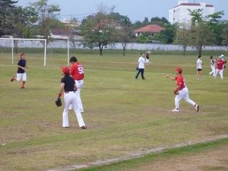 試合前の練習風景