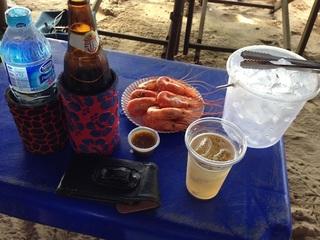 ビールと海老